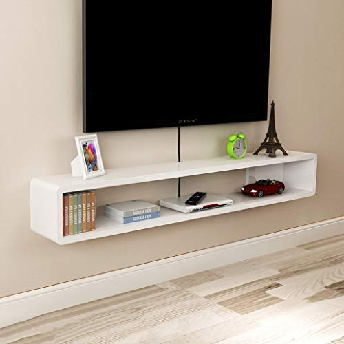 ZPWSNH TV Schrank TV Rack Set-Top Box Regal TV Konsole Storage Unit Storage Rack DVD Cable Box Floating Wall Frame Wall Mount TV Stand, Holz, weiß, 120x20x20cm -