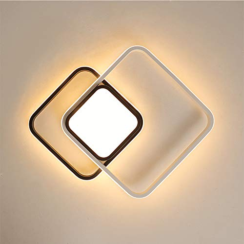 Plafonnier noir et blanc de LED pour le lustre mené moderne moderne de plafond de salon d'étude de pièce de bureau,BrightnessDimming,D43cm