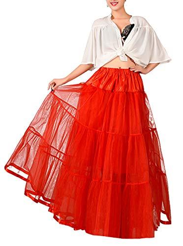Timormode Enagua Larga 100CM Cancan Vintage 50s Rockabilly Ballet Tutu Rojo L-XL