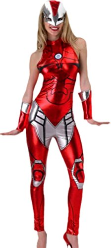 erdbeerloft - Damen Rescue Marvel Kostüm, Pepper Potts, Karneval, Fasching, 40, Rot