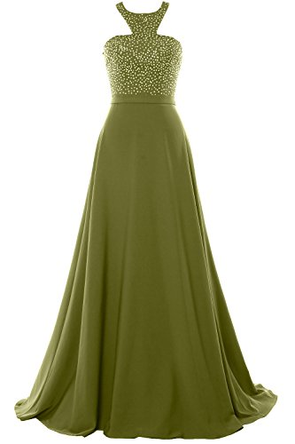 MACloth Halter Beading Chiffon Long Prom Party Dress 2018 Formal Evening Gown Olive Green