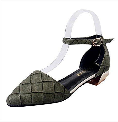 RUGAI-UE Estate sandali donne bocca poco profonda spessa appuntita cava della cinghia di scarpe Green