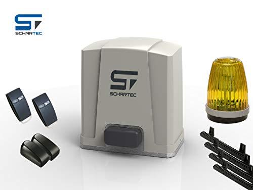 Schartec Schiebetorantrieb Jet 500 Komplett-Set bis 5 m Breite - Inkl. 2 Handsender, 1 Lichtschranke, 1 Signalleuchte, und 4 x 1 Meter Zahnstange - Torantrieb - Schiebetor - Hoftor - 5000 N