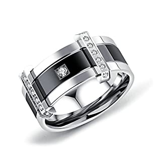 Blisfille Ringe Silber Vintage Ring Herren Viking Gothic Ring Titanring Herren Ring Titan Gothicring Schwarz Rechteck Diamant Zirkonia Ringe Größe 57 (18.1) Vintage