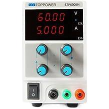 SKYTOPPWER Fuente de alimentacion regulable DC 0- 60V 0- 5A 4 dígitos de alta precisión EU Plug