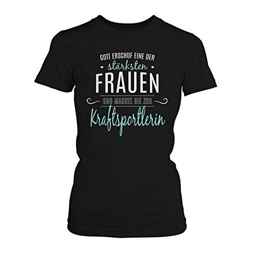 Fashionalarm Damen T-Shirt - Gott machte sie zur Kraftsportlerin | Fun Shirt mit Spruch als Geschenk Idee Kraft Sport Training Fitness Studio, Farbe:schwarz;Größe:M