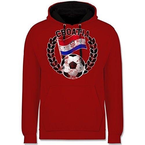 Fußball-WM 2018 - Russland - Croatia Flagge & Fußball Vintage - Kontrast Hoodie Rot/Schwarz