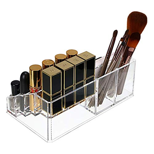INOVERA (LABEL) 16 Compartment Cosmetic Makeup Jewellery Lipstick Storage Organizer Holder Box, 21.2L x 12.5W x 7.8H, Transparent