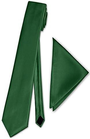 Herren Schmale Satinkrawatte mit Einstecktuch Anzug schmale Krawatte Edel Satin 30 Uni Farben NEU (Dunkel Grün)