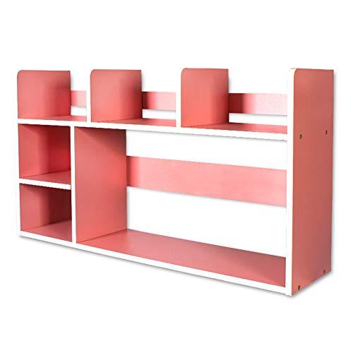 DULPLAY Schreibtisch Verstellbar Bücherschrank, Moderne Für Kinder Offene Regale Holz Storage Organizer Regal-Display Rack Für datensätze & bücher -Rosa 80x20x46cm(31x8x18inch) (Offenen Bücherschrank)