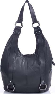 MASQUENADA, Damen Handtasche, XXL It-Bag Soft Leder Trend Shopper Tasche, Schwarz, 40x30x10 cm (BxHxT)