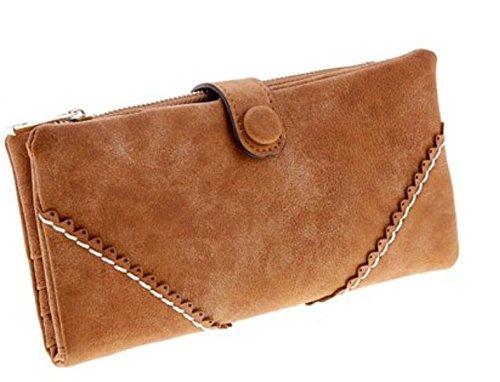 Lsv-8 Leder PU Geldbörse Geldbeutel Portemonnaie Lang Damenhandtasche mit Knopf Eingeschliffen Retro- Spitzen Elegant Geldbörse Kaffeebraun