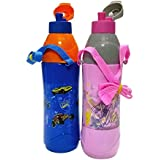 Cello Puro Junior 600 Ml Water Bottles (Set Of 2, Pink, Blue)