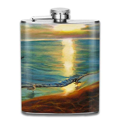 Beach Sunset Seagull Bird Pattern Fashion Portable 304 Stainless Steel Leak-Proof Alcohol Whiskey Liquor Wine 7OZ Pot Hip Flask Travel Camping Flagon for Man Woman Flask Great Little Gift