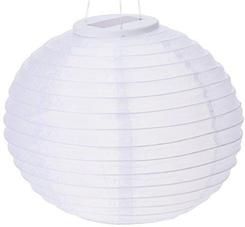 hibuy XXL Solar Lampion LED 28cm Weiss für Garten und Outdoor