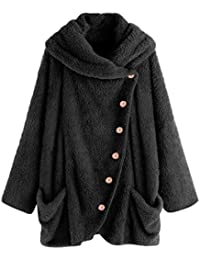 Abrigos Mujer Invierno Largos Felpa con Capucha Suéter POLP Capa mullida Tops Caliente Chaqueta Botón Abrigo
