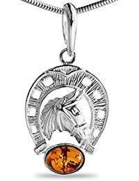 Naturbernstein Pferd Hufeisen Kettenanhänger aus 925 Sterlingsilber. rhodiniert Anlaufgeschützt Glücksbringer Glückssymbol #1547