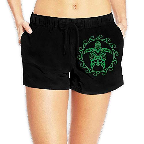Hmihilu Tribal Maori Sun Turtle Womens Lightweight Beach Shorts Drawstring Swimming Shorts with Pockets Medium