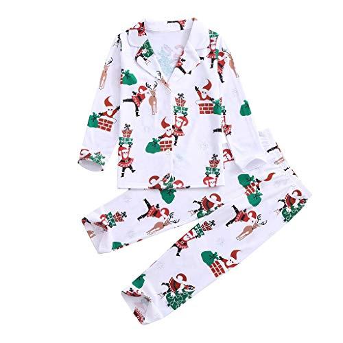 i-uend Baby Mädchen (Tops + Hosen) Herbst Suit Outfits Mit Kapuze Babykleidung Weihnachten Kinder Kinder Printed Top + Printed Hosen Xmas Family Clothes Pyjamas