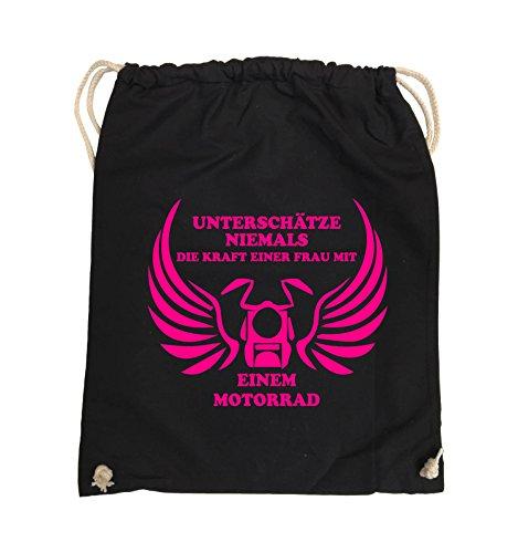 Comedy Bags - UNTERSCHÄTZE NIEMALS FRAU MIT MOTORRAD - Turnbeutel - 37x46cm - Farbe: Schwarz / Pink Schwarz / Pink