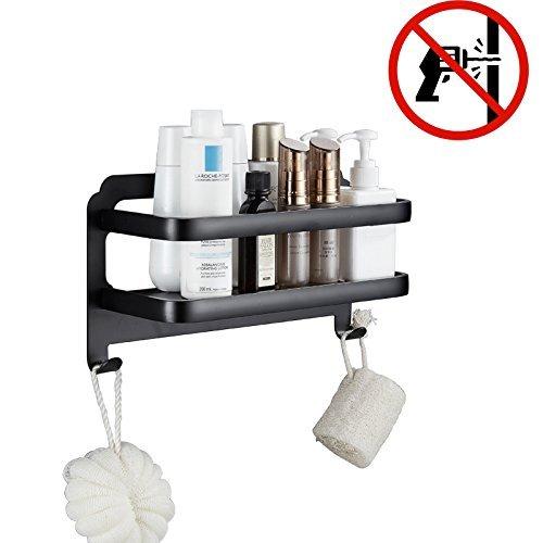 Kein Bohren selbstklebend Aufbewahrungskorb mit zwei Bademantel Haken für Bad und Küche, Schwarz,...