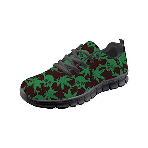 HUGS IDEA Herrenmode Training Sneakers Unkraut Schädel Print Punk Rock Athletisch Mesh Laufen Wanderschuhe-Größe: EU 41 -