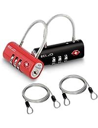 ELZO Candado Combinacion - Candado TSA Equipaje de Seguridad, Combinación de 3 Dígitos para Equipaje Maletas y Viajes, 2 Unidades con Cable de Acero 3.3 Pies