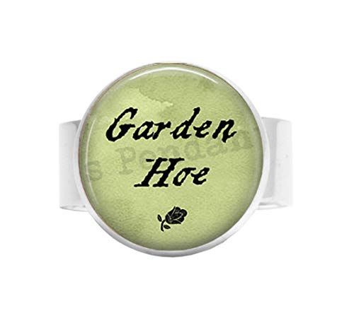 bab Gardening Pun Spruch Gartenhacke Biene Charm-Gardening Schmuck Geschenk für Gärtner, lustiges Zitat, Gartenhacke, Verstellbarer Ring