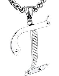 JewellryUS Joyería Collar con Colgante de hombre mujer,Nombre Carta Letra Iniciales,Acero inoxidable,Color plata