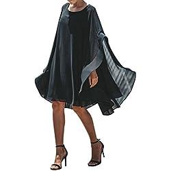 STRIR Vestido Tallas Grandes Mujer Verano Elegante Asimetricos Vestidos para Fiesta Coctel Playa Boho Chic Tunicas Largas Caftan Casual Oversize Camiseta Blusa Top Gasa Maxi Dress (XL)