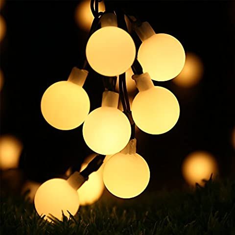 Globe Solar String Lights - RECESKY 50 LED 7m Solar Powered Christmas String Lights - Fairy Ball Lighting for Outdoor and Indoor Decor - Garden, Patio, Yard, Lawn, Garland, Party, House, Xmas Tree Decoration (Warm White)