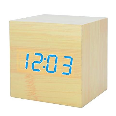 GANGHENGYU LED Réveil en bois Mute numérique Accueil Bureau de voyage Bureau Horloge électronique Fonction de contrôle du son Cadeaux promotionnels (Lumière Bleue En Bambou)