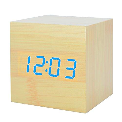 GANGHENGYU Holz Wecker LED Desktop Mute Elektronische Digital Temperatur Zeit Datum Kalender Startseite Reisen Snooze Schlafzimmer Uhr mit Sound Control Funktion (Braunes Holz Rotlicht)