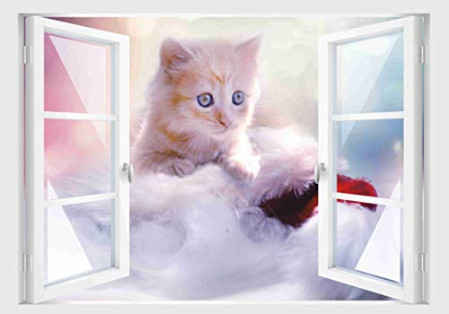 Skins4u Fenster 3D Optik Wandtattoo Wandbild Aufkleber Dekoration Bild Foto Tapete Motiv Katze Kätzchen Baby -