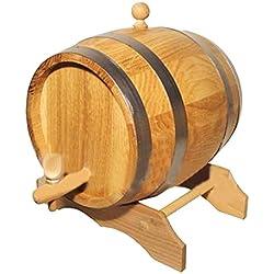 'Barril para vino 3LT en roble natural' Vino funda con grifo de madera de la Reunión fabricado en italia.