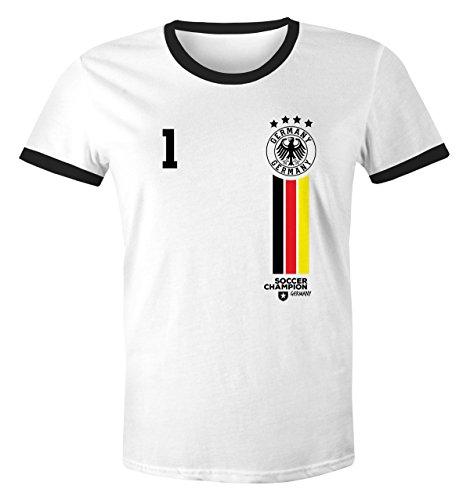 MoonWorks WM Shirt Deutschland Herren Retro 2018 Wunschnummer 1 Weiß-Schwarz XL