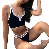 OHQ Damen Badeanzug Bademode Bikini Set Monokini Zweiteiliger Bandage Einfarbig Rückenfrei Rückenfrei Gepolstert Badebekleidung Strand Badeanzügen