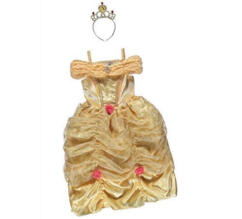 Prinzessin Belle George Disney Kostüm für Mädchen, 3-4 Jahre, goldfarben