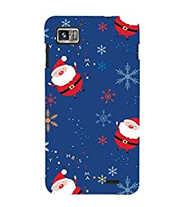 For Lenovo K860 :: Lenovo IdeaPhone K860 santa cartoon, cartoon, pattern, blue background Designer Printed High Quality Smooth Matte Protective Mobile Case Back Pouch Cover by APEX