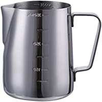 Para espuma de leche jarra con medidas a ambos lados, acero inoxidable taza de café Jarra para espumar leche jarra para máquinas de café Espresso Latte Art Baristas, acero inoxidable, Plateado, 12 oz (350ML)