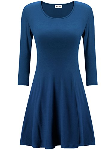 KorMei Damen Mini Skaterkleid Rundhals 3/4Arm Fattern Stretch Basic ALine Kleider  Navy Blau