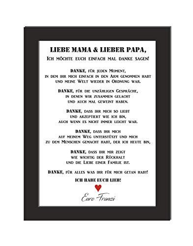 Personalisiertes Wandbild/Bild Danke/Liebe Mama & Lieber Papa/Danksagung/Geschenk Eltern/Geschenk Weihnachten/Brillanter Laserdruck auf hochwertigem Papier/DIN A4, wahlweise mit Bilderrahmen