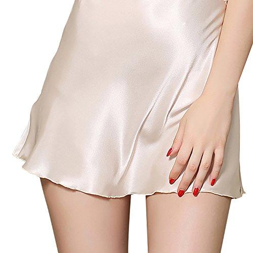 Dolamen Chemises de nuit Femmes Satin, Femmes Ensemble de Pyjama, Luxe & Lingerie Fleurs Broderie Spaghetti Strap Chemise Babydoll Dentelle chemise de nuit Court Beige