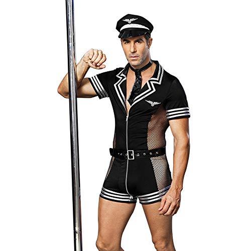 Männliche Kostüm Piloten - COSY-L Männliche Polizei Erotisch einheitliche Versuchung Sexy Pilot Rollenspielanzug zum Bar Nachtclub,Black,Freesize