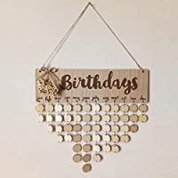 BlackEdragon Wooden Calendar Birthdays Round Printed Lowercase Letters Wall Calendar Characters Special Dates Reminder Board Home Hanging Ornament Decor