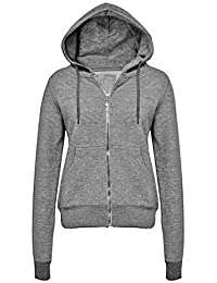 CANDY FLOSS NEW LADIES WOMENS HOODIE SWEATSHIRT PLAIN ZIP FLEECE HOODED COAT JUMPER JACKET UK SIZE 8-14