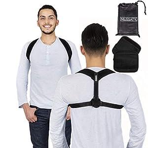 Mussaty. Haltungstrainer Geradehalter Posture – Rückenstütze für bessere Haltung – für Männer und Frauen – Größenverstellbare Schulterbandage – 2 Schulterpolster, Achselpolster GRATIS dazu