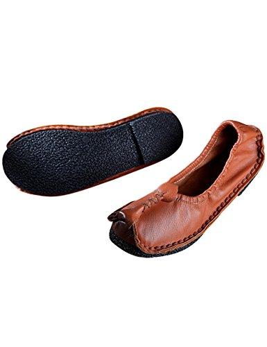 Youlee Femmes Fait main Chaussures en cuir pour le printemps Marron