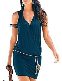 SUNNOW Elégante Tunique Robe Femmes Casual d'été sans manches Col V Profond Robe de Plage Mini robes T-shirt Party Robe Court Mini Robe
