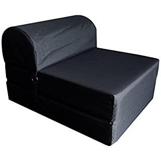 Chauffeuse convertible Polyester Noir 75 x 58 x 48 cm